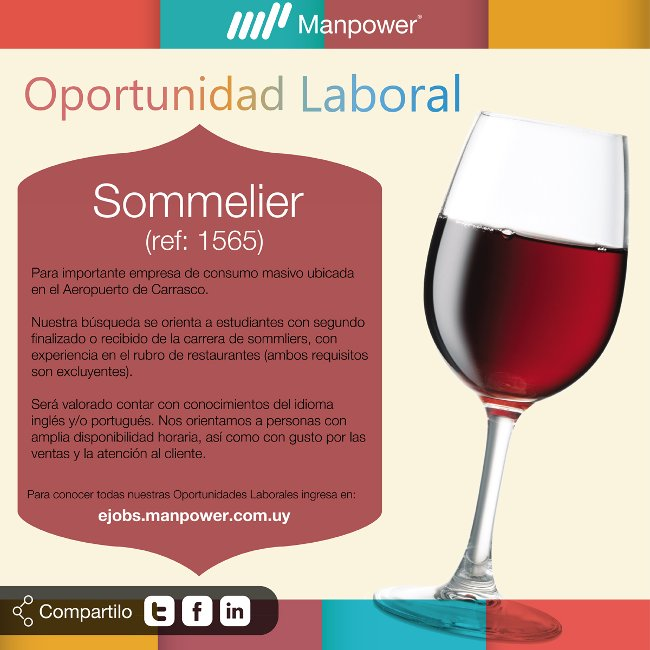 Opportunidad laboral Sommelier