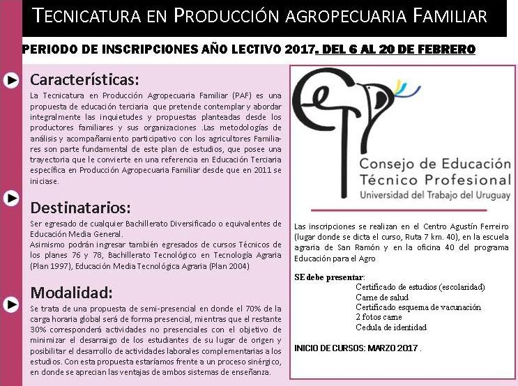 tecnicatura en produccion familiar